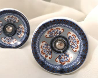 Ceramic Knob, Beautifully Decorated Knobs, Round Bowl Style Drawer Pulls, Cobalt Blue, Unique Pattern, Cabinet Hardware, Item #558445243