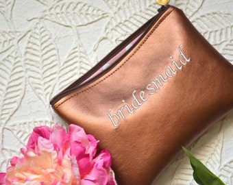 Personalized Gift for Her Monogram Clutch Bridesmaid Gift Set Purse Copper Custom Make Up Zipper Pouch Metallic Gift Faux Leather