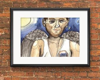 Bintang Angel – Painting, Original Artwork, Watercolor, Ink, Wall art, Original painting