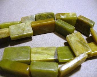Green Serpentine Jade Beads Gemstones Rectangular  18x13MM Full Strand