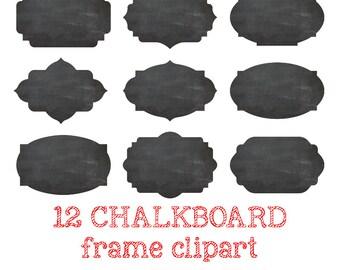 12 Digital CHALKBOARD FRAME Clipart Chalkboard Label Clip Art Chalkboard PNG Digital Chalkboard clipart Scrapbooking Crafting #C033
