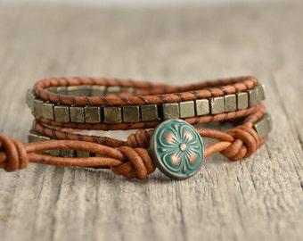 Raw jewelry. Bohemian pyrite cube bead bracelet. Beaded wrap bracelet
