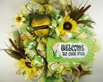 Frog Mesh Wreath, Welcome To Our Pad Mesh Wreath, Frog Wreath, Sunflower Wreath, Front Door Wreath