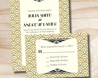 ART DECO GATSBY Wedding Invitation and Response Card Invitation Suite