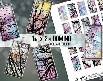 "Digital Collage Sheet 1"" x 2"" Domino Size Tree Branches Images for Glass and Resin Pendants Scrapbook Magnets JPG D0009"