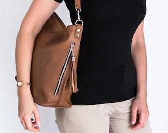 LEATHER HOBO BAG, Brown Leather Handbag, Everyday Tote, Crossbody Bag, Leather Shoulder Bag, Leather Tassel Bag, Fringe Hobo Bag, Tote Bag