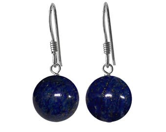 10mm Genuine Dark Blue Lapis Lazuli Gemstone Bead / Ball / Sphere 925 Sterling Silver Drop / Dangle Earrings