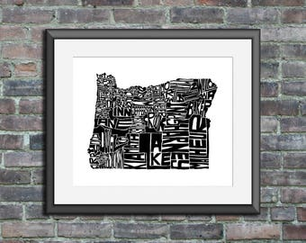 Oregon typography map art unframed print customizable personalized state poster custom wall decor engagement wedding housewarming gift