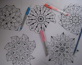 Instant Download Mandala Coloring Pages - 5 Printable Designs  - Set 6