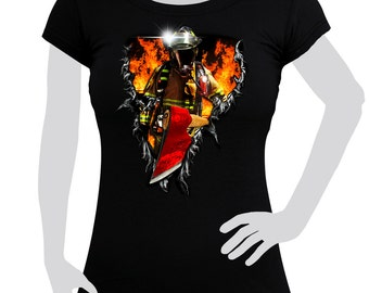 Ladies T-shirt printed with Firefighter 3D