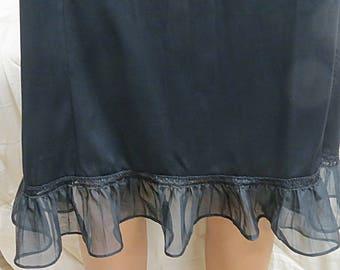 Black Vintage Nylon Pleated Lace Rogers Half Slip Small  #432