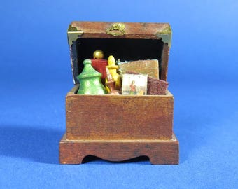 Collector Miniature 1:12 Small Trunk or Chest - Potion and Book Filled, Witch, Wizard, Attic