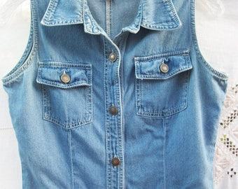 Denim Boho Hippie Dress ~ Comfy Style ~ Button Front ~ Sleeveless ~ Faded Blue ~ Below Knee Length