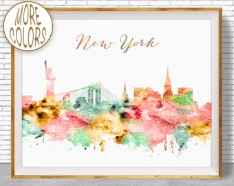 New York Poster New York Print New York Skyline New York Art Print City Skyline Prints Office Wall Art Office Poster ArtPrintZone