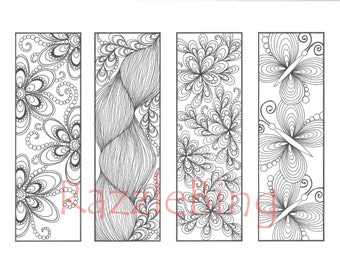"DIY Bookmark Printable Coloring Page-Zentangle-Henna inspired ""Butterflies and Blooms""-Zendoodle Doodle-PDF Instant Download"