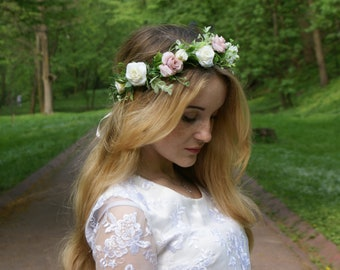 Blush Ivory flower crown,Flower girl crown blush,Floral crown ,Wedding flower crown,Bridal flower crown