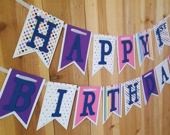 Polka Dot and Stripes Happy Birthday Banner, High Chair Banner, One Banner