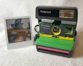 Upcycled Green, Yellow and Pink Polaroid 600 OneStep with CloseUp - Cleaned and Tested