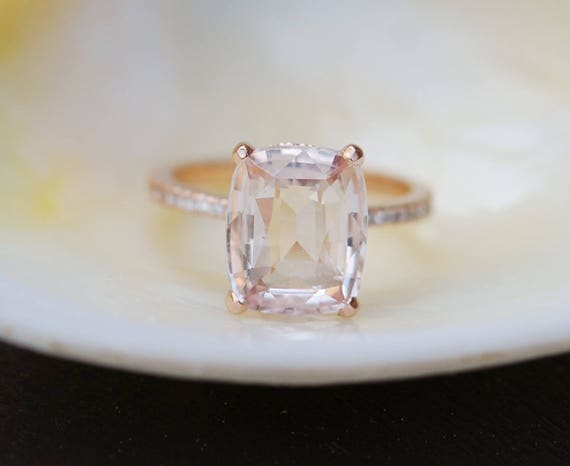 Blake Lively ring Peach Sapphire Engagement Ring cushion cut 18k rose gold diamond ring 5.56ct Peach champagne sapphire ring