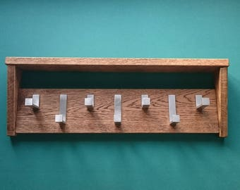 Solid Oak Coat Rack with Shelf  |  Rustic Modern  |  Contemporary  |  Floating