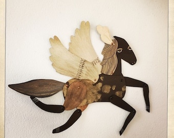 Kingston / Winged Copper Plumed Horse Articulated Decoration  / Hinged Beasts Series