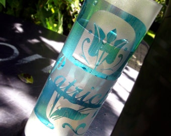 set of two, made to order glassware. personalized, custom designed, monogrammed engraved AND coloured drinking glasses