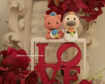 platypus and fox Wedding Cake Topper