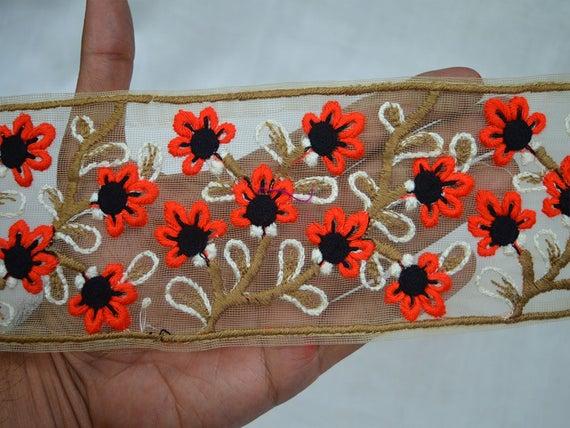 1 Yard Green Fabric Trim-Sequins Embroidered Trim-Gold Sari Border-Sari  Fabric