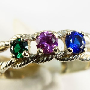 Mother's Ring, Mothers Birthstone Ring, Grandmother's Ring, or Family Ring Custom Silver 3-7 Gems(gold request pricing)FREE RHODIUM Plating
