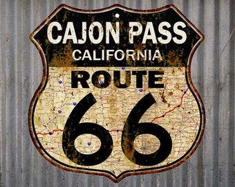 Cajon Pass, California Route 66 Vintage Look Rustic 12X12 Metal Shield Sign S122075