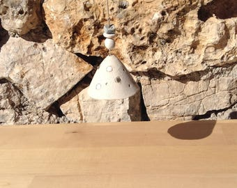 Bell in raw white stoneware and grey enamel