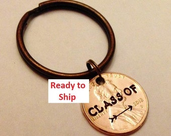 Ready to Ship Grad Gift, CLASS of 2018: Stamped Penny Keychain with Arrow, High School Graduate, College Graduation Keepsake; 3 Colors