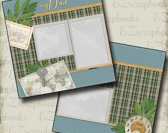 My Dad - 2 Premade Scrapbook Pages - EZ Layout 2046