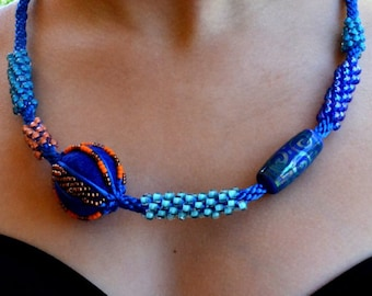 B4B - Royal Romp Necklace, Mixed Media, Felt, Lampwork, Seed Beads, Magnetic Clasp.