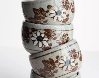 Vintage Set Of Four Otagiri Brown Floral Cups Mugs Planters