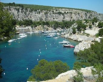Les Calanque-  fine art travel photography -   Les Calanque in France - sailboats - blue  waters - limestone cliffs.  8x10