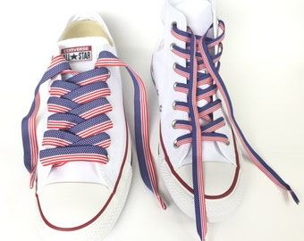 USA Flag Ribbon Shoelaces