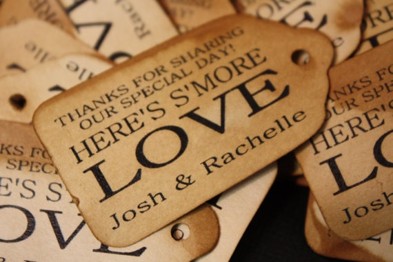 Smore Love MEDIUM Personalized Wedding Favor Tag  choose your amount thanks for sharing our special day