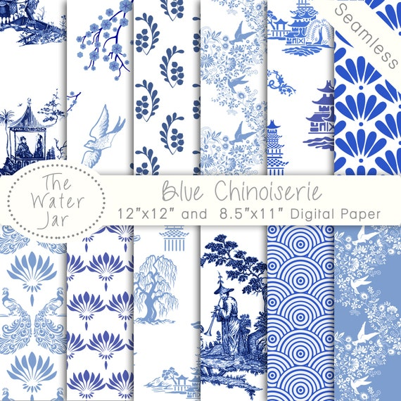 Chinoiserie Wallpaper China Blue Digital paper pack | 570 x 570 jpeg 153kB