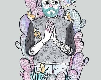 Boy n Birds • Print