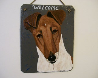 Fox Terrier (smooth coat) Welcome Slate