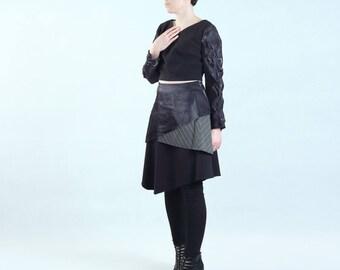 black layered irregular skirt, contrast three layers, irregular hem, without lining