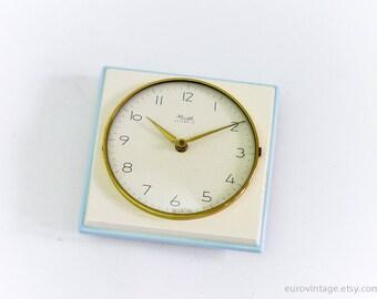 Vintage Ceramic Kitchen Wall Clock White Baby Blue / Porcelain Kitchen Wall Clock Kienzle 60s 70s