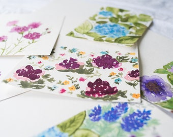 Greeting Card Set, Set of 5 Cards, Handpainted, Original Watercolor Cards