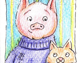 ACEO Original Pen and Colored Pencil Drawing