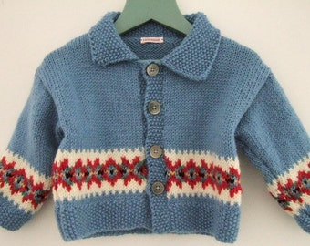 Hand knitted fair isle jacket