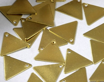 Raw Brass Triangle 100 Pcs 12x14 mm  tag Charms with hole  ,Findings 620RD-34