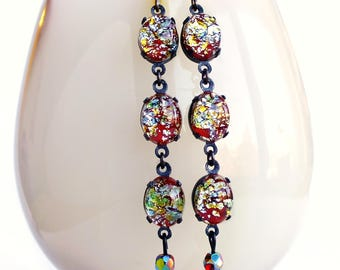Colorful Glass Lampwork Dangle Earrings Red Silver Foiled Vintage Glass Stone Earrings Red Foil Earrings Long Red Glass Dangles