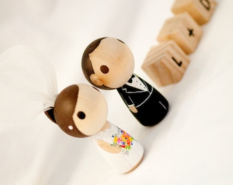 Customize Wedding Cake Topper  - - -  Kokeshi Peg Doll with 3 dices