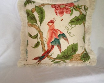 Bird and Monkey Cotton Brush Fringe Pillow Cover